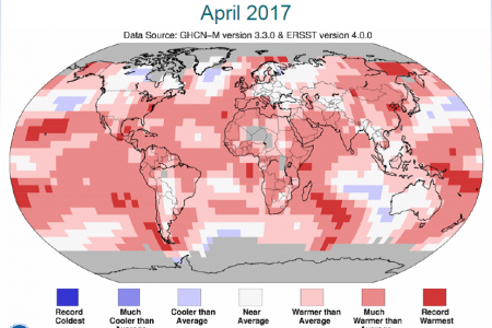 April 2017 Was the Second Hottest April on Record: We Need NOAA More Than Ever