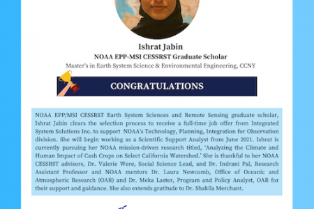 CESSRST Scholar Accepts Job Offer from Integrated System Solutions Inc.