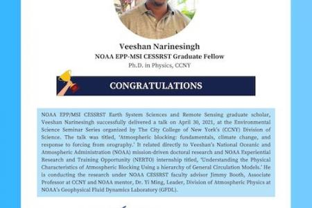 NOAA EPP/MSI CESSRST Scholar Virtually Delivers Talk at The City College of New York