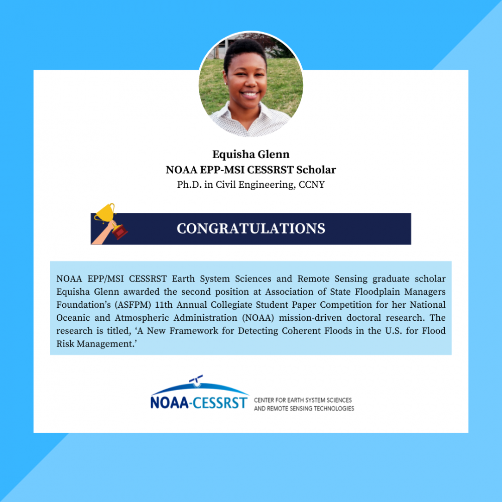 NOAA EPP/MSI CESSRST Scholar Awarded the Second Position at ASFPM Conference